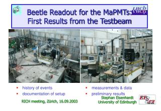 Beetle Readout for the MaPMTs: First Results from the Testbeam