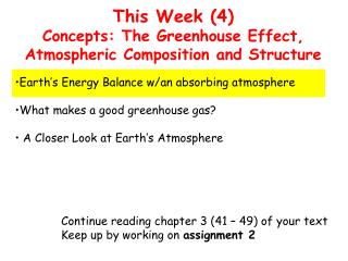 This Week (4) Concepts: The Greenhouse Effect, Atmospheric Composition and Structure
