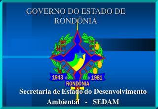 GOVERNO DO ESTADO DE RONDÔNIA