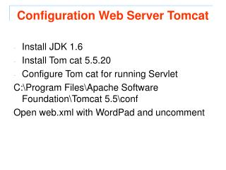 Configuration Web Server Tomcat