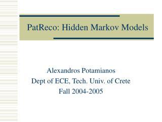 PatReco: Hidden Markov Models