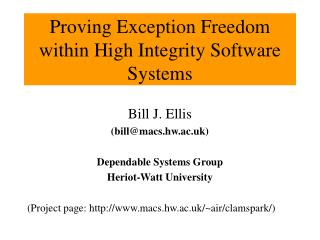 Proving Exception Freedom within High Integrity Software Systems
