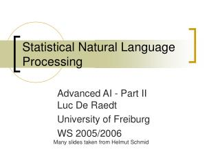 Statistical Natural Language Processing
