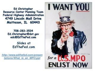 Ed Christopher Resource Center Planning Team Federal Highway Administration 4749 Lincoln Mall Drive Matteson, IL  60443