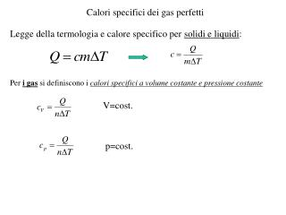 Calori specifici dei gas perfetti