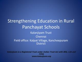 Strengthening Education in Rural Panchayat Schools