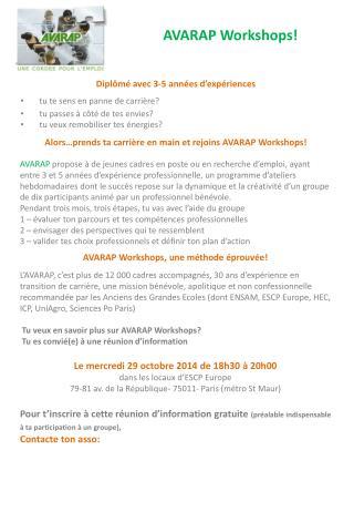 AVARAP Workshops!