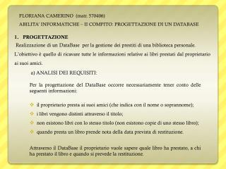 FLORIANA CAMERINO  ( matr . 570406)