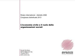 L � economia civile e il ruolo delle organizzazioni sociali