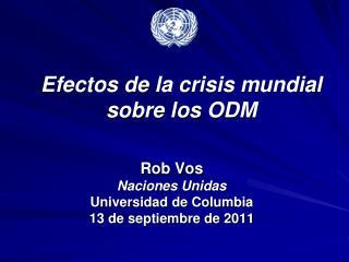 Efectos de la crisis mundial sobre los ODM