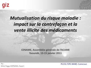 Mutualisation du risque maladie: impact sur la contrefaçon et la vente illicite des médicaments