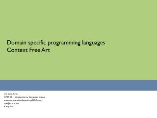 Domain specific programming languages Context Free Art