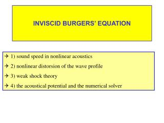 INVISCID BURGERS' EQUATION