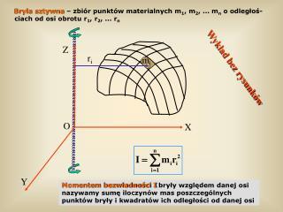Momentem bezwładności I  bryły względem danej osi nazywamy sumę iloczynów mas poszczególnych