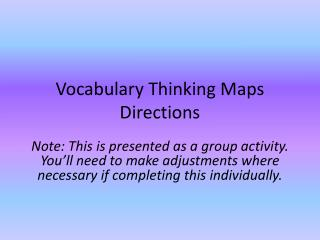 Vocabulary Thinking Maps Directions