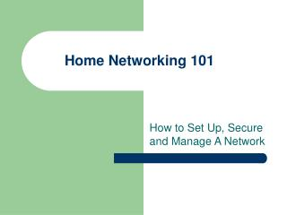 Introduction to Networking 101