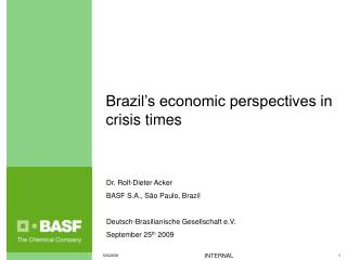 Brazil's economic perspectives in crisis times