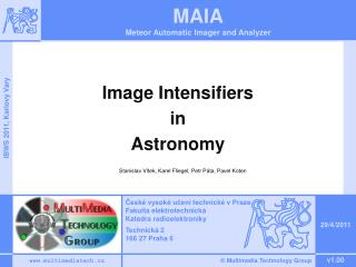 Image Intensifiers  in  Astronomy