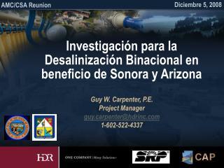 Investigación para la Desalinización Binacional en beneficio de Sonora y Arizona