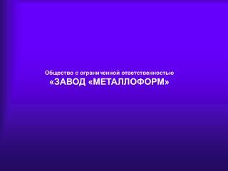 Общество с ограниченной ответственностью «ЗАВОД «МЕТАЛЛОФОРМ»