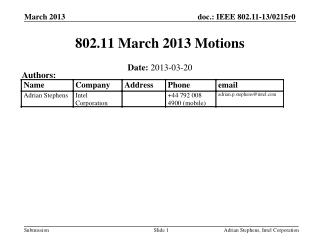 802.11 March 2013 Motions