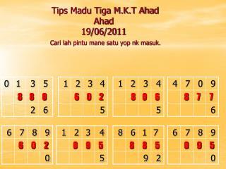 Tips Madu Tiga M.K.T Ahad Ahad 19/06/2011