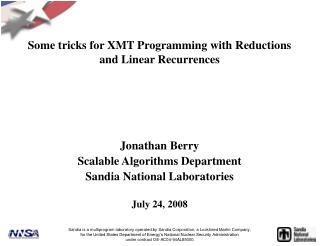 Some tricks for XMT Programming with Reductions and Linear Recurrences