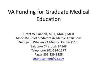 VA Funding for Graduate Medical Education