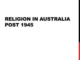 Religion in Australia post 1945