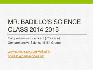 Mr.  Badillo's  Science Class 2014-2015