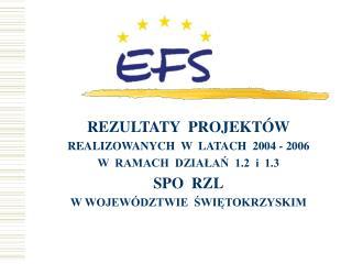 REZULTATY  PROJEKTÓW REALIZOWANYCH  W  LATACH  2004 - 2006 W  RAMACH  DZIAŁAŃ  1.2  i  1.3