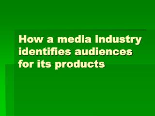 How a media industry identifies audiences for its products