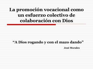 La promoción vocacional como un esfuerzo colectivo de colaboración con Dios
