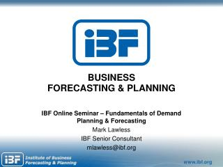 BUSINESS FORECASTING & PLANNING