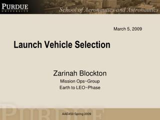 Launch Vehicle  Selection