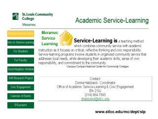 Distinctions Among Service Programs Letter from Meramec President Dr. Lynn Suydam Learning Pyramid