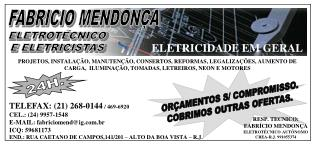TELEFAX: (21) 268-0144  / 469-6920 CEL.: (24) 9957-1548 E-MAIL: fabriciomend@ig.br
