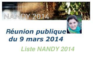 R éunion publique  du 9 mars 2014
