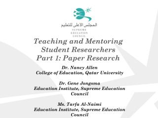 Teaching and Mentoring Student Researchers Part 1: Paper Research