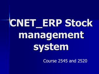 CNET_ERP Stock management system