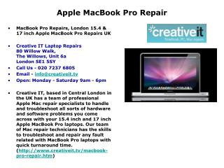 Apple MacBook Pro Repair - 020 7237 6805