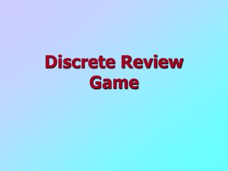 Discrete Review Game