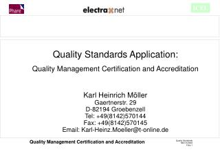 Quality Standards Application: Quality Management Certification and Accreditation