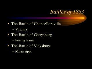 Battles of 1863
