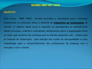 NORMA NBR ISO 10002
