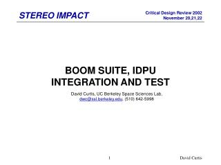 BOOM SUITE, IDPU INTEGRATION AND TEST