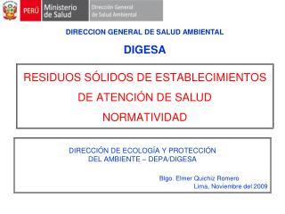 RESIDUOS S LIDOS DE ESTABLECIMIENTOS DE ATENCI N DE SALUD   NORMATIVIDAD
