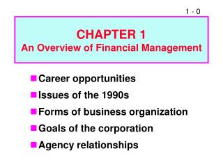 Meeting 1 - Ch. 1 Overview of Financial Management