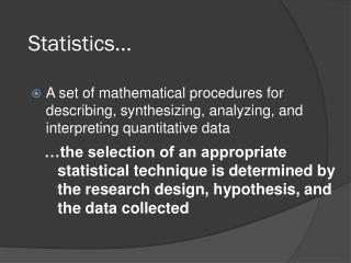Statistics...