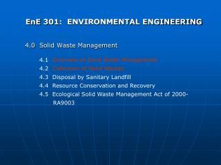 EnE 301:  ENVIRONMENTAL ENGINEERING